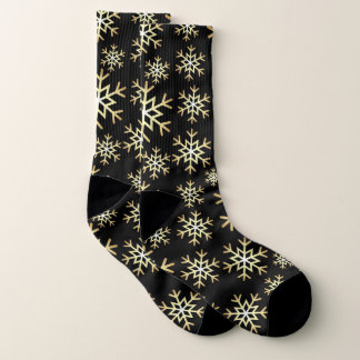 Christmas black gold snowflake pattern socks 1