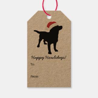 Christmas Black Lab Dog wearing Santa Claus Hat Gift Tags