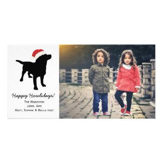 Christmas Black Lab Dog wearing Santa Claus Hat Photo Card