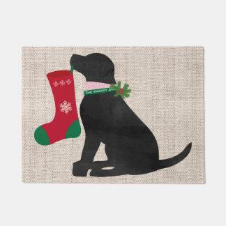 Christmas Black Lab Preppy Dog Doormat