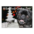 Christmas Black Pug party invitation