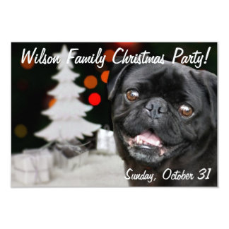Christmas Black Pug party invitation