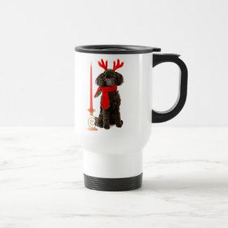 Christmas Black Toy Poodle Dog Dressed as Reindeer Travel Mug