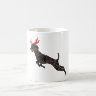 Christmas Black Toy Poodle Dog Reindeer Antlers Coffee Mug