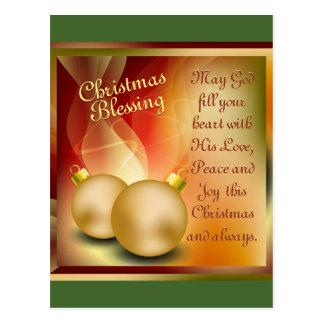 Christmas Blessing, Love Peace Joy Postcard