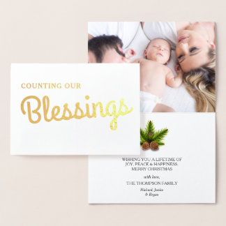 Christmas Blessings | Family Photo Gold Foil Card