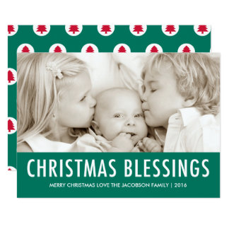 Christmas Blessings Green Holiday Christmas Card