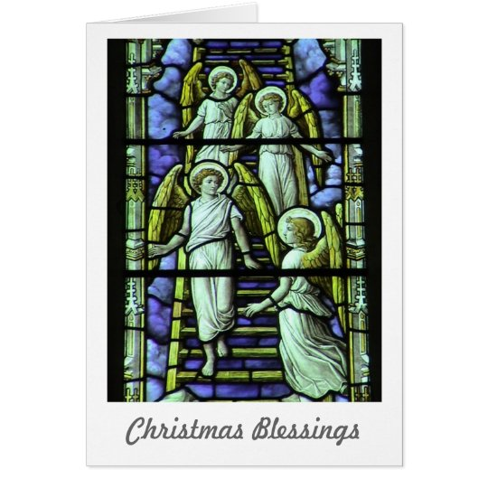 Christmas Blessings Holiday Card with Angels
