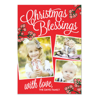 """Christmas Blessings Holiday Photo Cards 5"""" X 7"""" Invitation Card"""