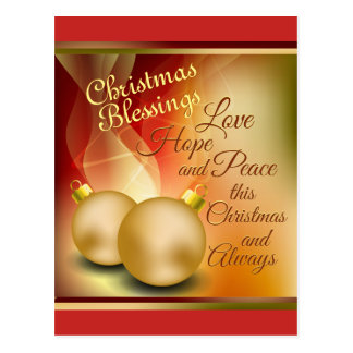 Christmas Blessings, Love Hope Peace Postcard