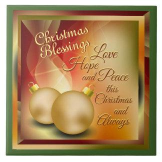 Christmas Blessings, Love Hope Peace Tile