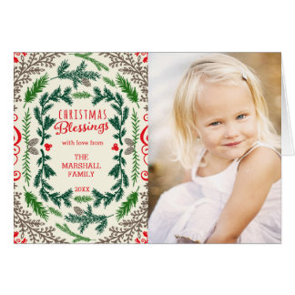 Christmas Blessings Photo Holiday Greeting Card