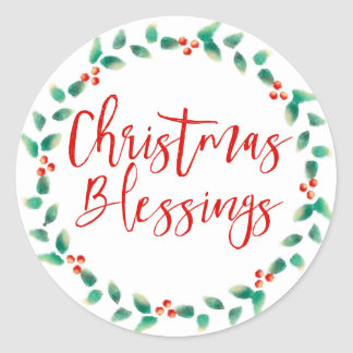 Christmas Blessings Red and Green Envelope Seals