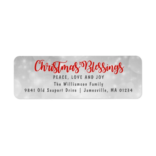 Christmas Blessings Return Address Labels Red