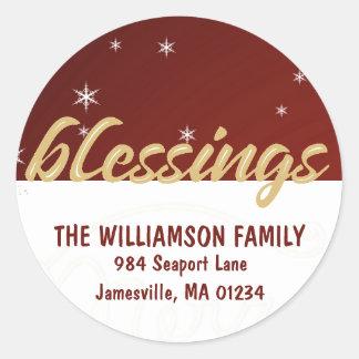 Christmas Blessings Round Return Address Labels