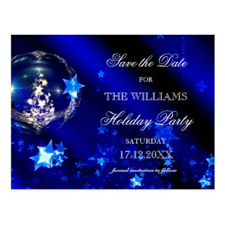 Christmas Blue Baubles Holiday Party Save The Date Postcard