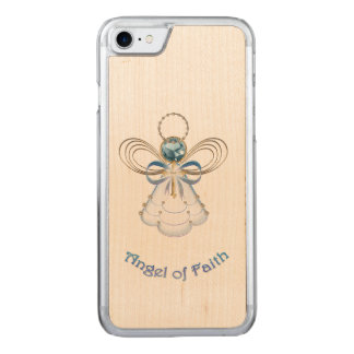 Christmas Blue Filigree Angel of Faith Carved iPhone 7 Case
