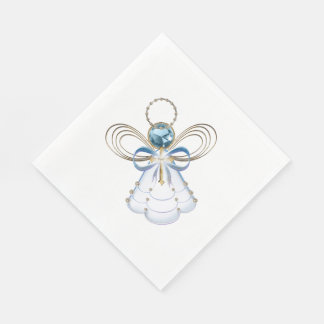 Christmas Blue Filigree Angel of Faith - Holiday Paper Napkins