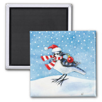 Christmas Blue Jay Square Magnet