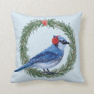 CHRISTMAS BLUE JAY THROW PILLOW