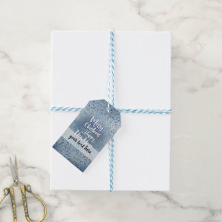 Christmas blue leaves gift tags