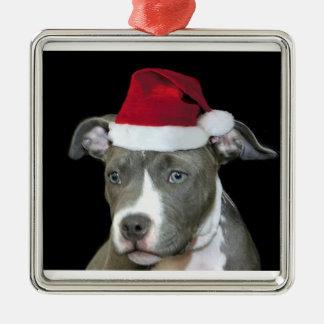 Christmas blue pitbull puppy metal ornament