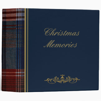 "Christmas Blue Plaid 2"" Photo Album Vinyl Binder"