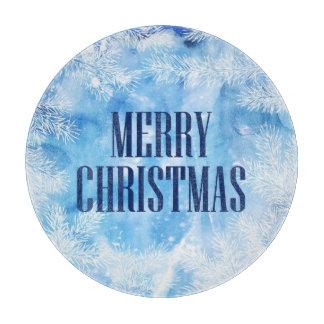 Christmas | Blue Snow & Ice Winter Cutting Board