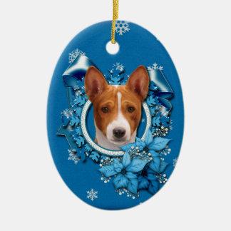 Christmas - Blue Snowflake - Basenji Ceramic Ornament