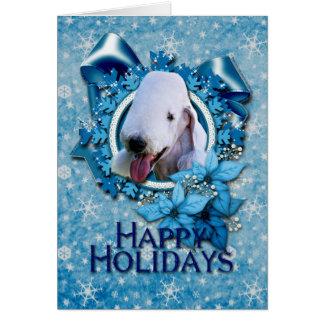 Christmas - Blue Snowflake - Bedlington Terrier Greeting Card