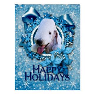 Christmas - Blue Snowflake - Bedlington Terrier Postcard