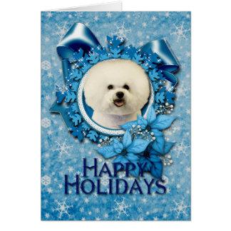Christmas - Blue Snowflake - Bichon Frise Card