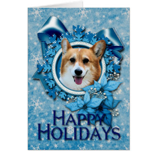 Christmas - Blue Snowflake - Corgi - Owen Card