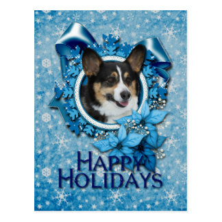Christmas - Blue Snowflake - Corgi Postcard