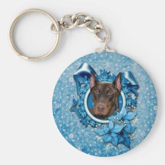 Christmas - Blue Snowflake - Doberman - Rocky Keychain