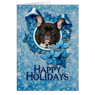 Christmas - Blue Snowflake - French Bulldog - Teal Card