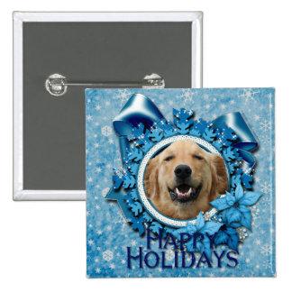 Christmas - Blue Snowflake - Golden Retriever Button