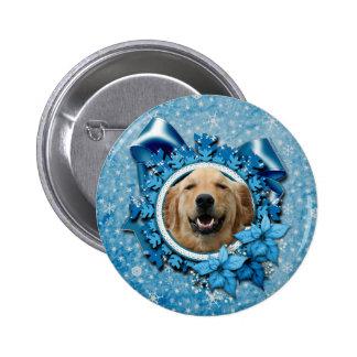 Christmas - Blue Snowflake - Golden Retriever Pin