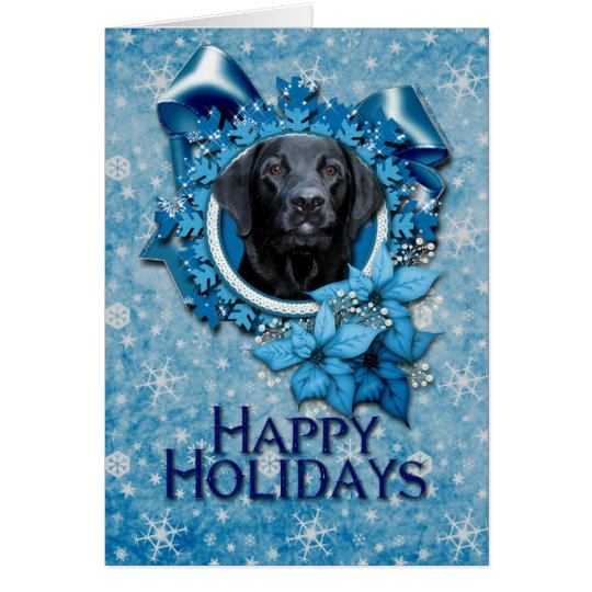 Christmas - Blue Snowflake - Labrador - Black Card