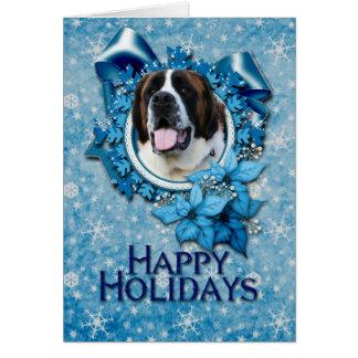 Christmas - Blue Snowflake - Saint Bernard - Mae Card