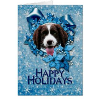 Christmas - Blue Snowflake - Springer Spaniel Card