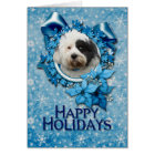 Christmas - Blue Snowflake - Tibetan Terrier Card