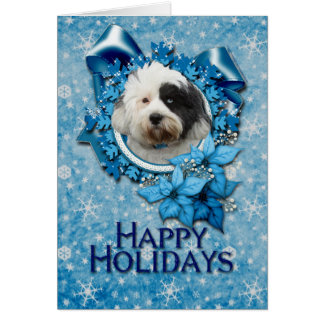 Christmas - Blue Snowflake - Tibetan Terrier Greeting Card