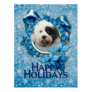 Christmas - Blue Snowflake - Tibetan Terrier Postcard
