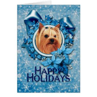 Christmas - Blue Snowflake - Yorkshire Terrier Greeting Card