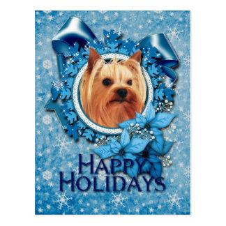 Christmas - Blue Snowflake - Yorkshire Terrier Postcard