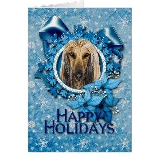 Christmas - Blue Snowflakes - Afghan Card