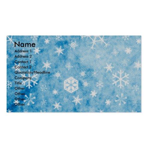 Christmas - Blue Snowflakes - Boston Terrier Business Card Templates