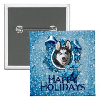 Christmas - Blue Snowflakes - Siberian Husky Pins