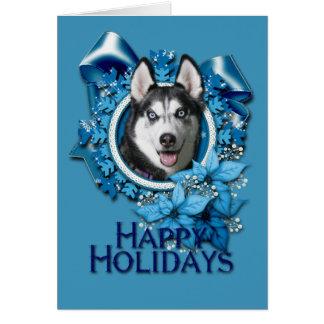 Christmas - Blue Snowflakes - Siberian Husky Card